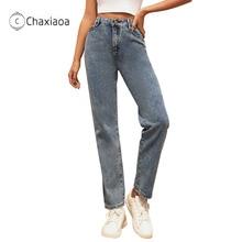 Jeans Mom Straight-Pants High-Waist Sports Women Baggy Korean-Fashion CHAXIAOA Casual