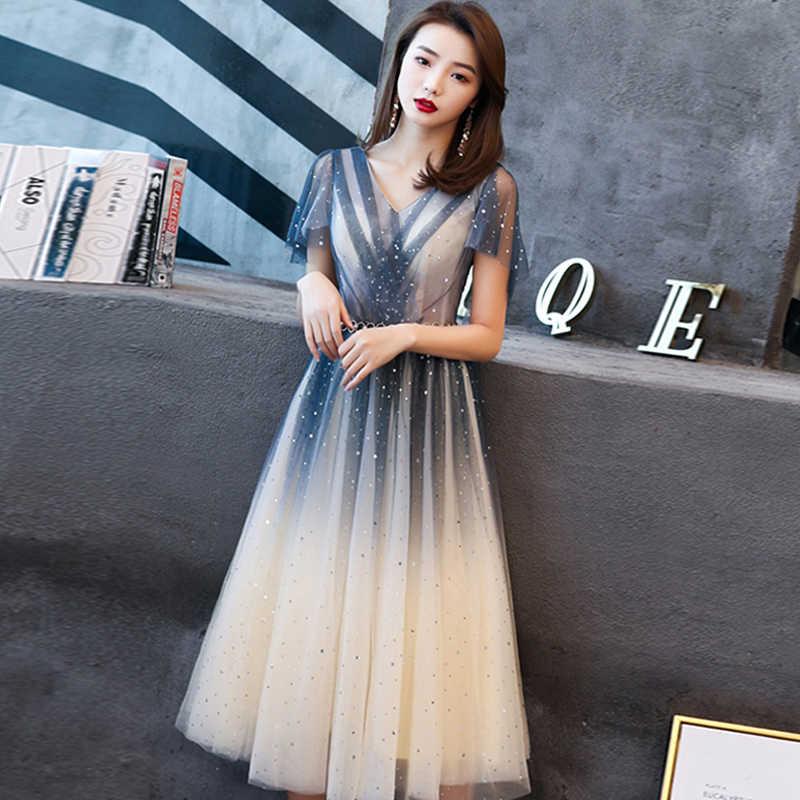 Женское вечернее Платье До Колена It's Yiiya, платье трапециевидной формы с v-образным вырезом и коротким рукавом, модель E778 большого размера плюс, 2020
