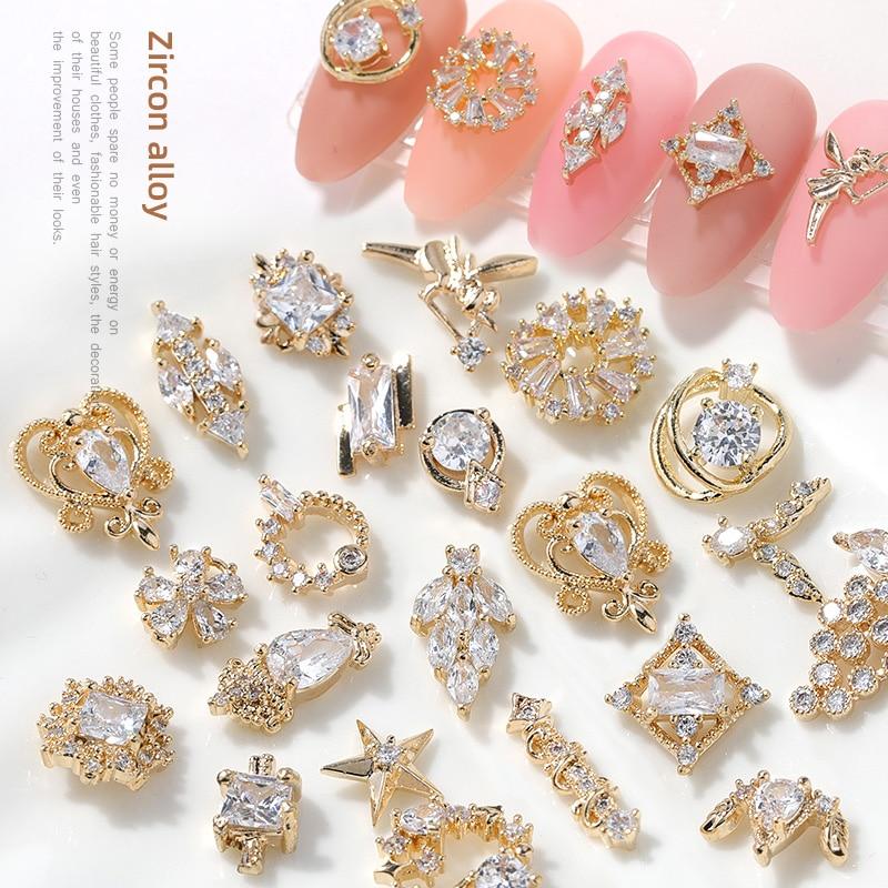 2 предмета в комплекте 3D циркониевые нейл-арта украшения японский украшения для ногтей, наивысшего качества, циркон, кристалл, маникюр цирко...