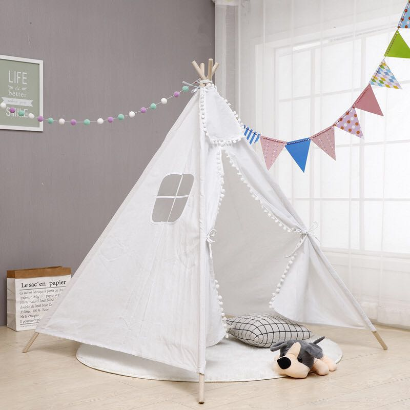 25 Style Baby Portable Canva Tipi Folding Indoor Children Tent Teepee Original Triangle Indian Kid Tent Wigwam Little Play House