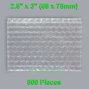 "500 Pieces 2.5"" x 3"" (65 x 75mm) Clear Bubble Bags Small Size Plastic Packing Envelopes"