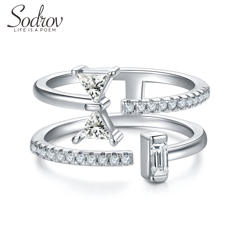 SODROV Triangle Zircon Stone Engagement Silver Ring For Women  925 Sterling Silver Fine Jewelry Silver 925 Rings
