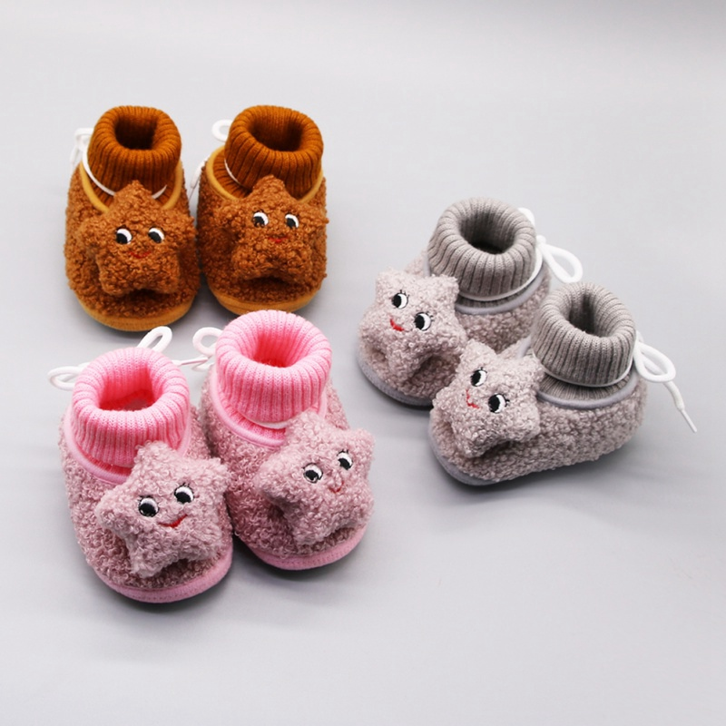 Autumn Newborn Baby Shoes Baby Girl Boy Cartoon Pentagram Knitting Boots Casual Sneakers Non-slip Soft Soled Walking Shoe