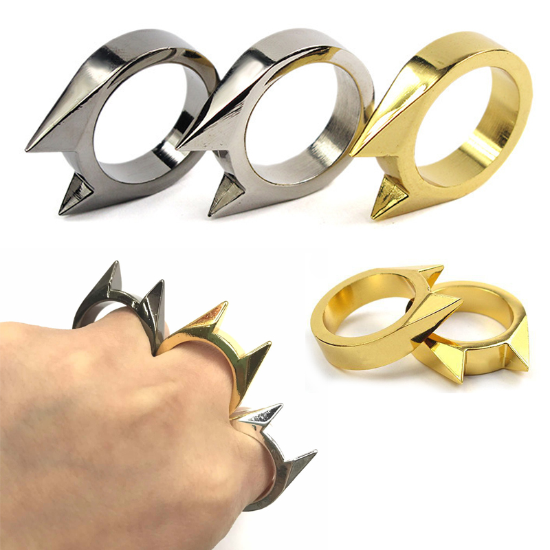 3Pcs Self-Defense Ring Women Portable Finger Weapons Safety Survival Anti-wolf Ring Finger Defense Tool Unisex Protect Outdoor