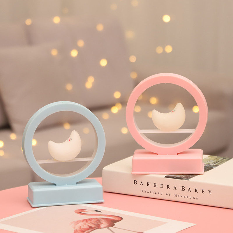 Creative Cute Romantic Pink Blue Music Atmosphere Night Light Moon Music Nght Light Children's Birthday Gift Decoration Lights