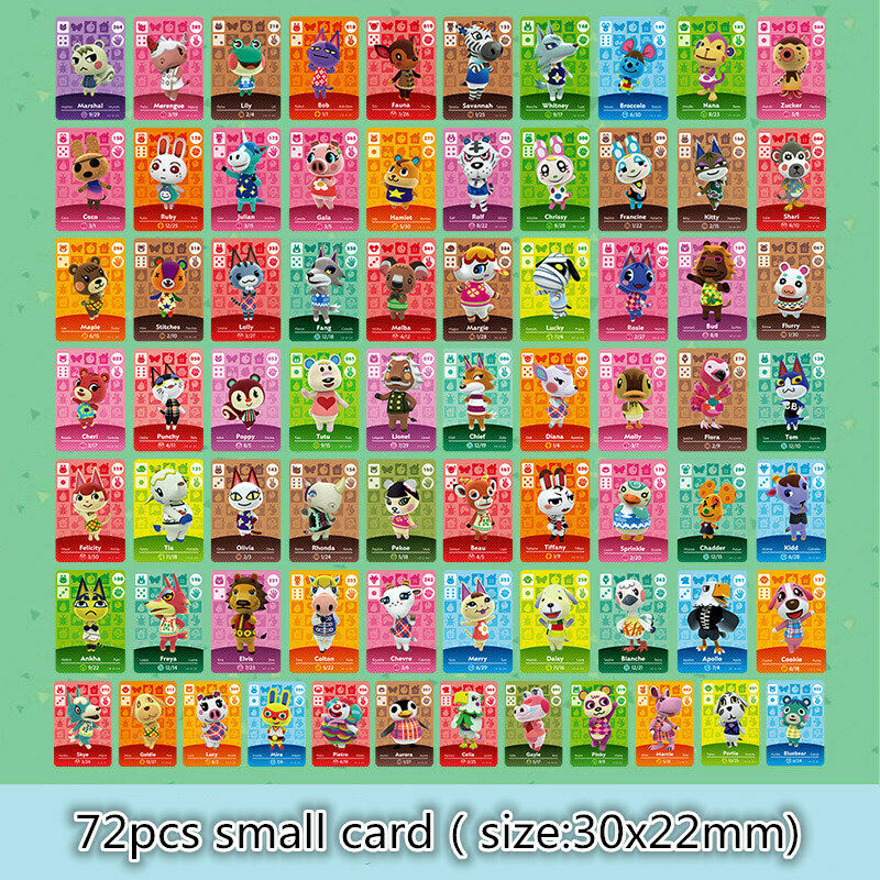 High Quality Mini Animal Crossing NFC Game Cards Playing Cards Exquisite Mini Cards 72pcs Ntag215 NS Switch WiiU 3DS /3DS