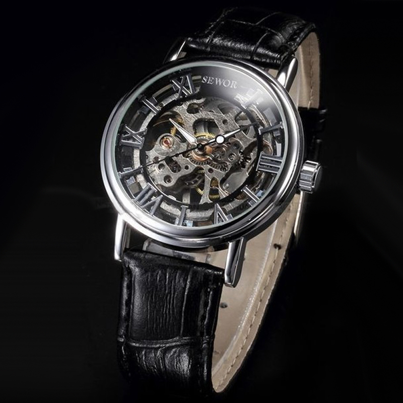 Купить модные повседневные мужские часы sewor скелетоны механические