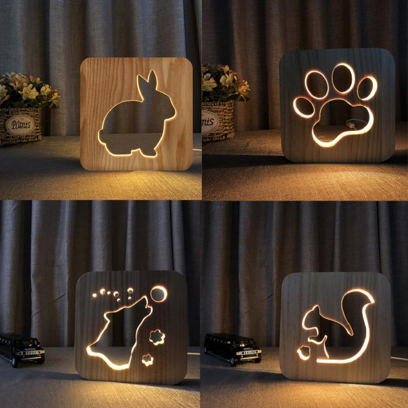 LED Wooden Table Lamp Bedroom Night Light Creative Hollow Carving Gift Lamp Hollow Wooden Hole Night Light USB Decorative Light