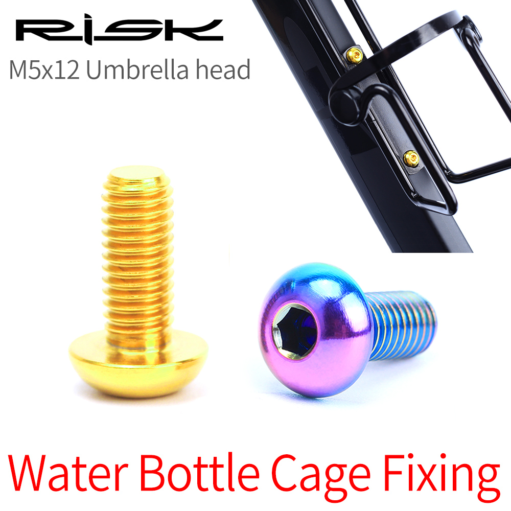 RISK 2pcs/ box Road Mountain Titanium Alloy <font><b>Bike</b></font> Bicycle M5x12 Water Bottle <font><b>Cage</b></font> Fixing <font><b>Bolts</b></font> Air Pump Holder Fixed Screws image
