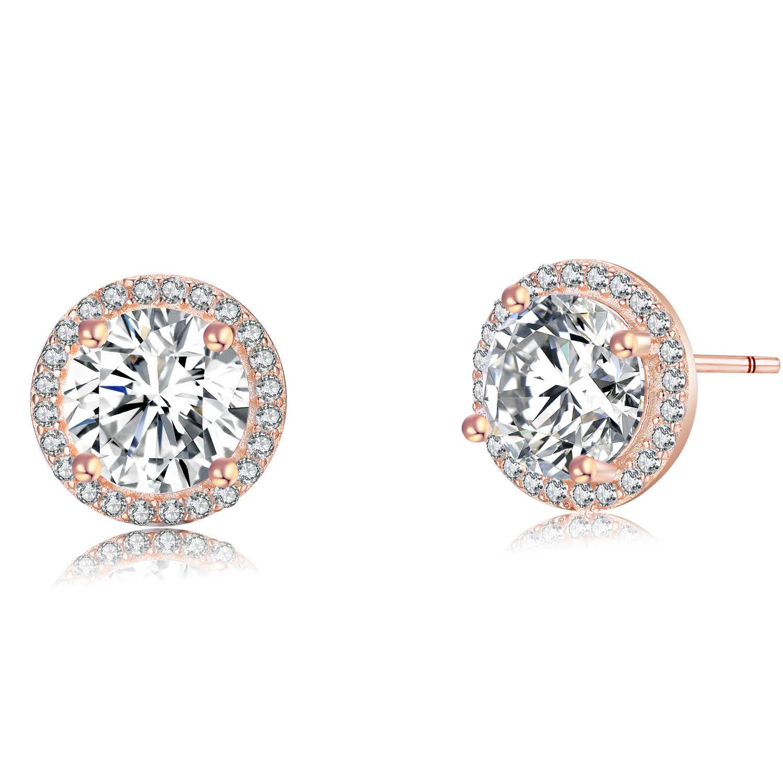 JewelryPalace CZ Stud Earrings Rose Gold 925 Sterling Silver Earrings For Women Girls Korean Earrings Fashion Jewelry 2019