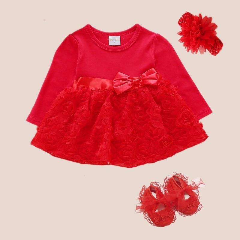 红色玫瑰裙长袖-3