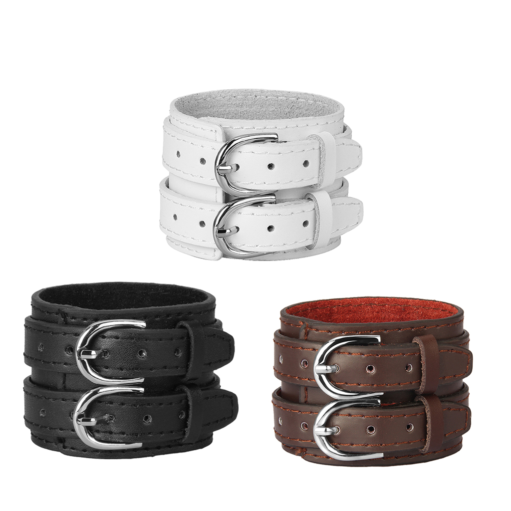 Unisex Punk Faux Leather Arm Armor Adjustable Buckles Gauntlet Medieval Wide Bracers Wristband  Protective Cuff Costumes