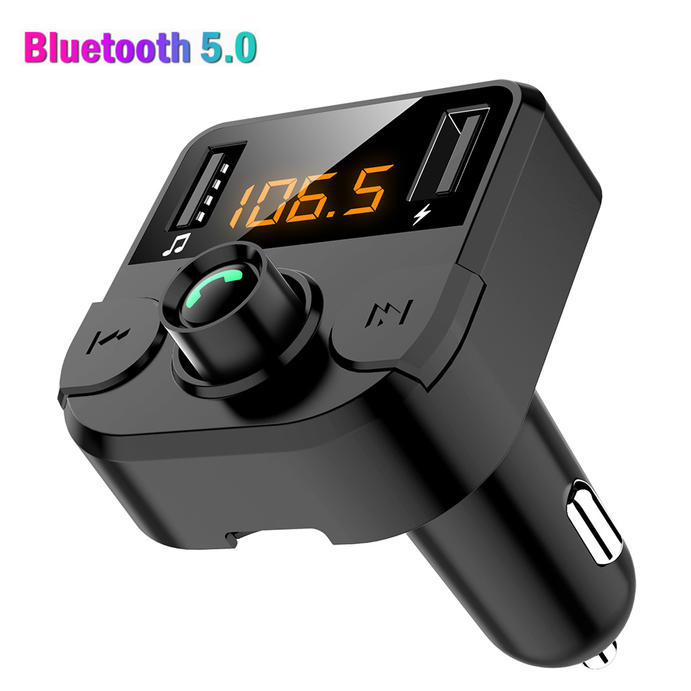 Konrisa Bluetooth <font><b>Car</b></font> Kit FM Transmitter LED Display Dual <font><b>USB</b></font> <font><b>Port</b></font> Handsfree Calling <font><b>Car</b></font> <font><b>MP3</b></font> <font><b>Player</b></font> Support <font><b>SD</b></font> <font><b>Card</b></font> <font><b>USB</b></font> Driver image