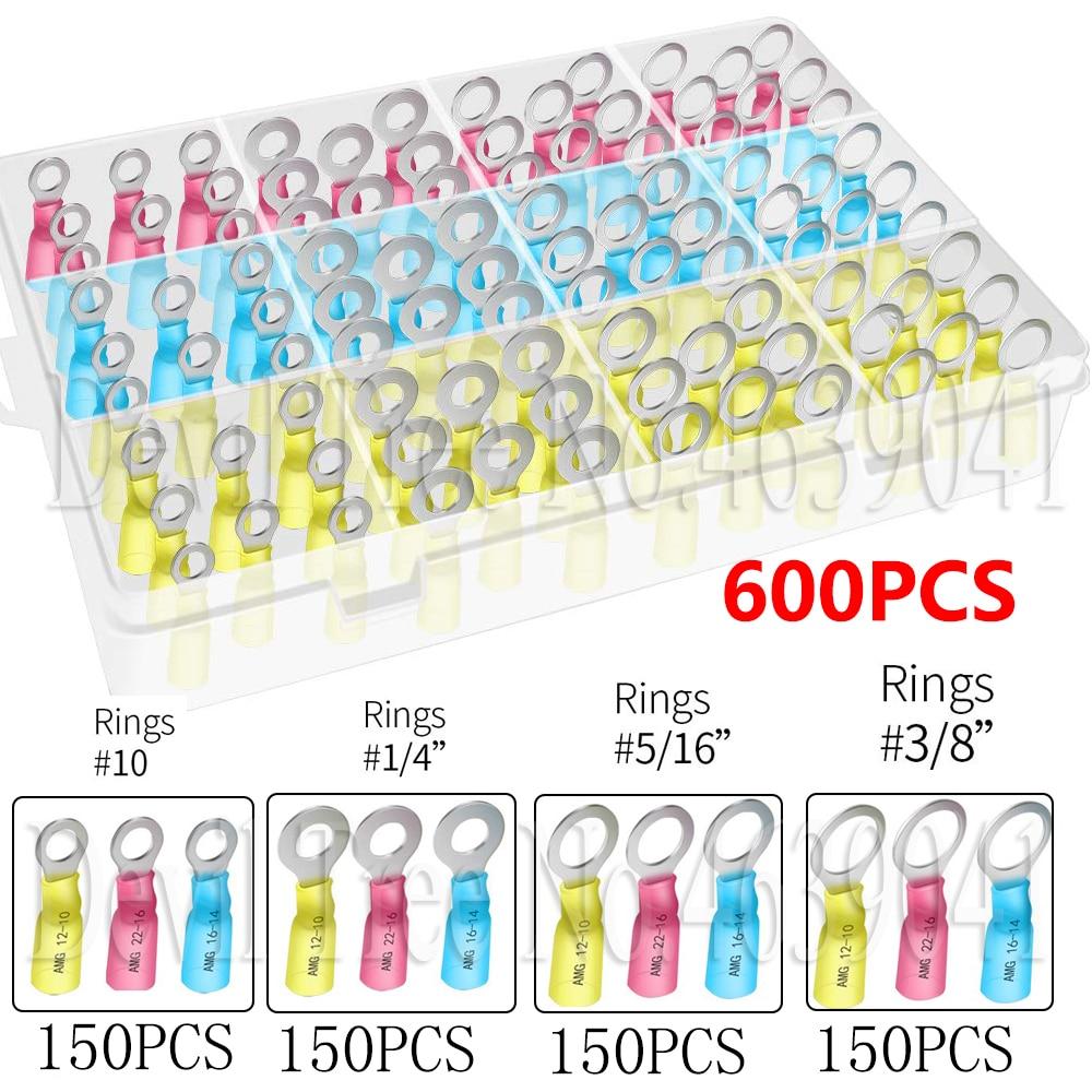 Connecteurs à sertir avec anneau thermorétractable   600 pièces-connecteurs de fil thermorétractable Haisstronica en cuivre chromé. 1/4 pouces, 5/16 , 3/8 (22-16)