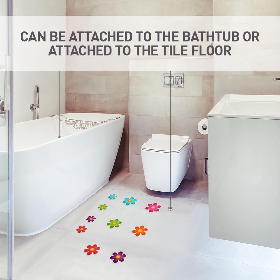 10pcs Anti Slip Bathtub Stickers Colorful Flower Self Adhesive Non