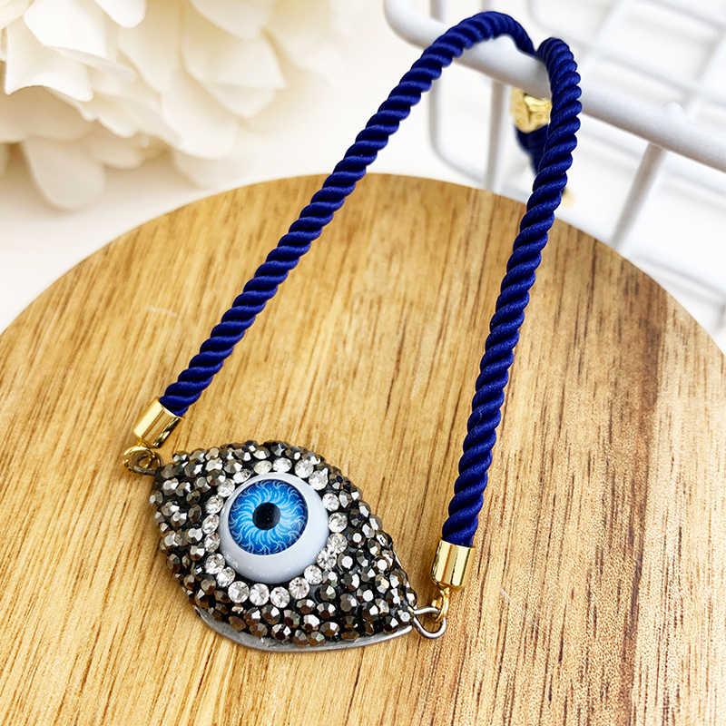Blue Evil Eye สร้อยข้อมือสำหรับสตรี 2019 CZ สายรุ้งตุรกีสีดำทองแดง Inlay Zircon Moom คริสตัลสร้อยข้อมือสำหรับเครื่องประดับสตรี