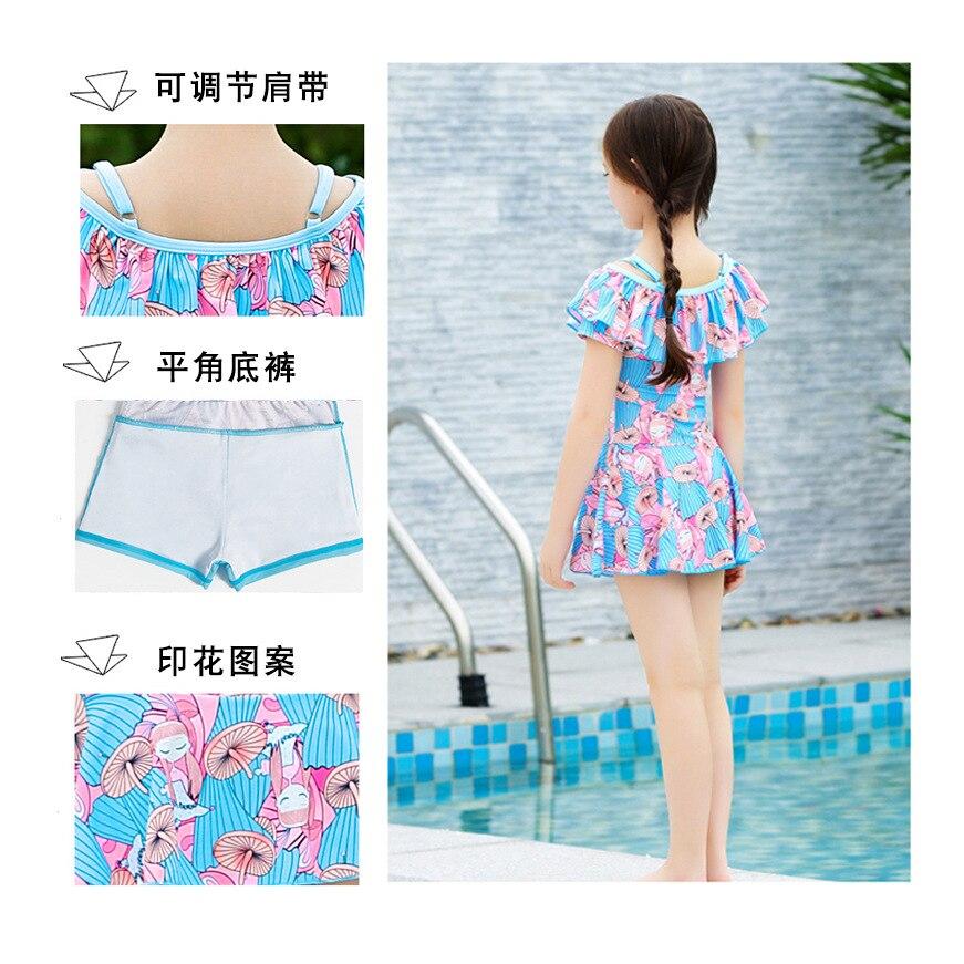 KID'S Swimwear GIRL'S Siamese Swimsuit Big Boy Little Princess Split Skirt-Cute Girls Students Swimwear