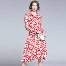 Banulin Boho Pleated Dress Womens Vintage Polka Dot Print Bow Blet Midi Pink Chiffon Summer Elastic Waisted Holiday