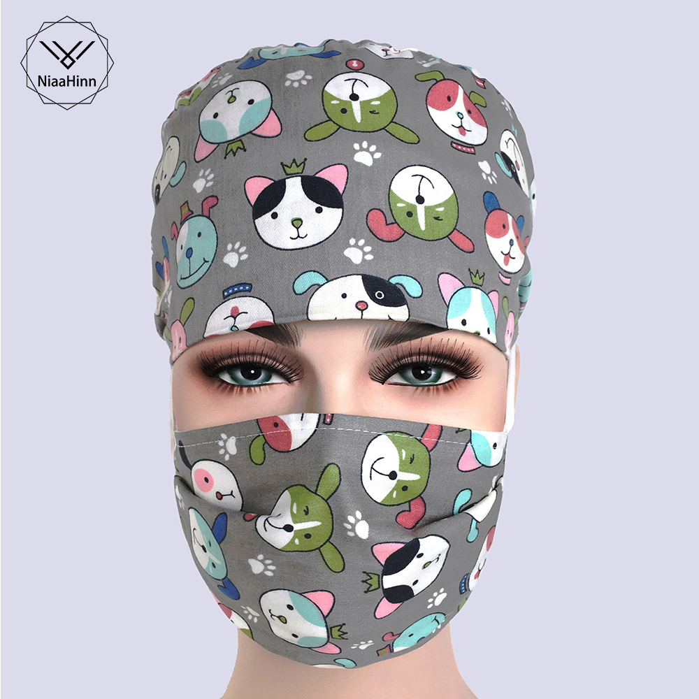 Cute Unisex Cartoon Printed Scrub Cap Masks Nurse Doctor Surgical Hospital Adjustable Medical Caps Scrub Lab Clinic Dental Hat