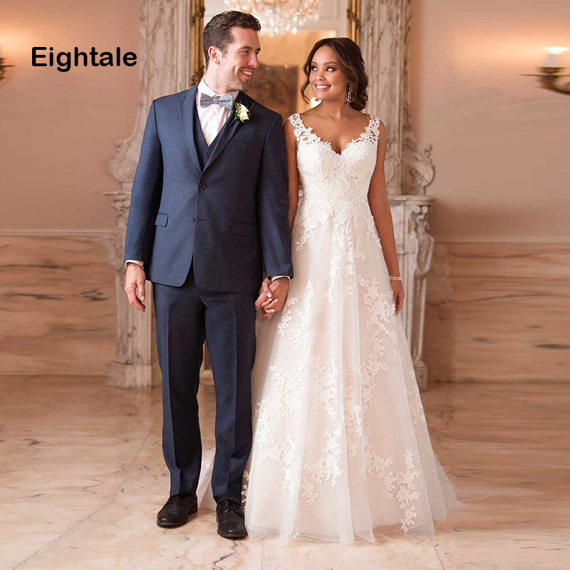 Eightale Wedding Gowns 2019 V Neck Appliques Lace Princess Romatic Boho Wedding Dress A-Line Tulle Bride Dress Vestido Casamento