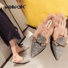 Rhinestone Fur Slides Women Flat Plush Loafers Brand Buckle Designer Shoes Pointed Toe Mules Slippers Ladies Winter Home Shoes цены онлайн