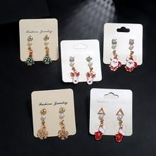 fashion sweet temperament combination set earrings new elk Christmas tree snowman bell drop oil earrings for women fine jewelry