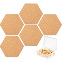 5 упаковок шестигранной пробковой доски плитки с полной липкой задней частью, мини-ПИН-доска с 40Х нажимными булавками для фотографий, рисования