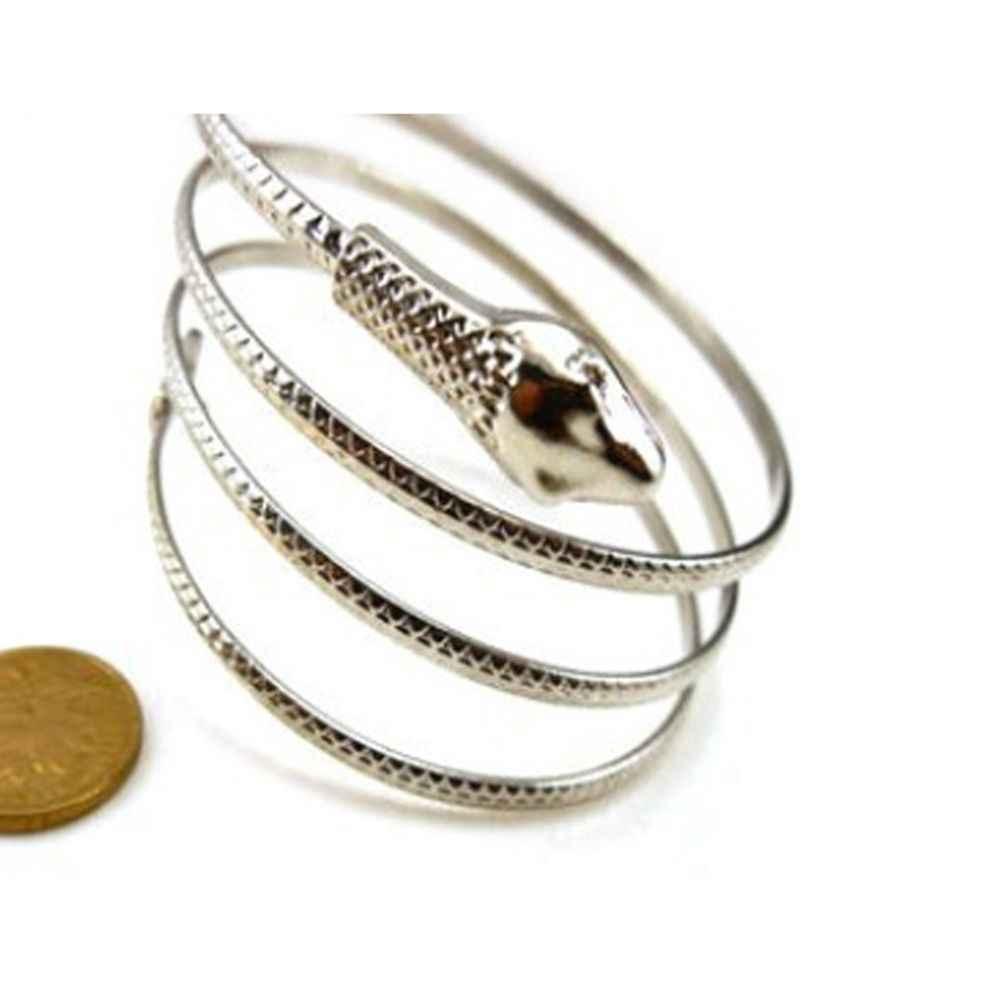 1 шт. женские мужские браслеты из металлического сплава модная Свернувшаяся змея спираль Панк Золотой Серебряный цвет верхняя рука манжета браслет для ношения выше локтя браслеты