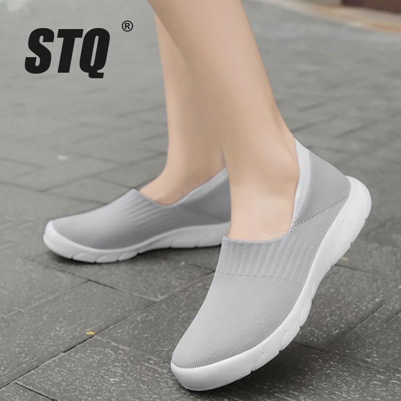 STQ 2020 Autumn Women Shoes Sock Sneakers Women Slip On Casual Flat Shoes Plus Size Loafers Flats Walking Shoes Female 1909Womens Flats   -