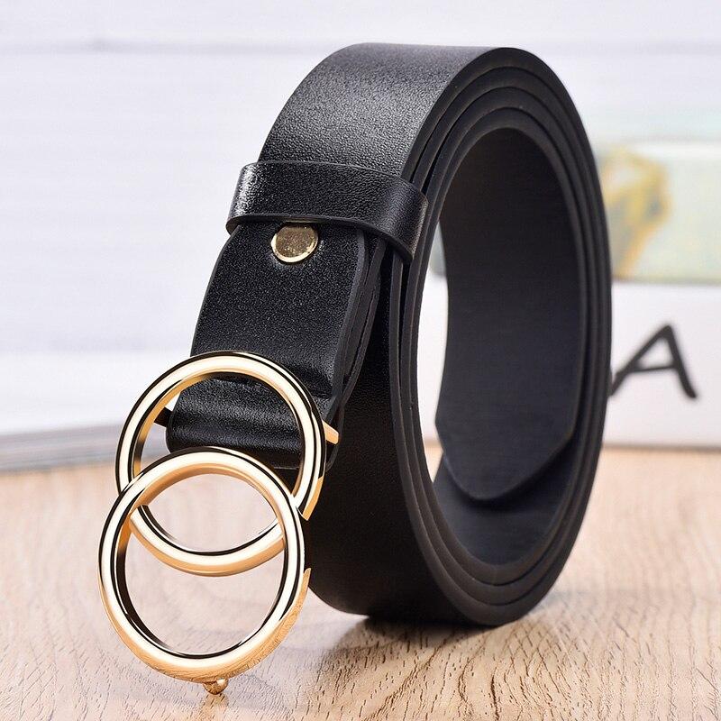 NO. ONEPAUL дизайнер известный бренд кожа высокое качество ремень Мода сплав двойное кольцо круглая пряжка девушка джинсы платье дикие ремни - Цвет: SYL black