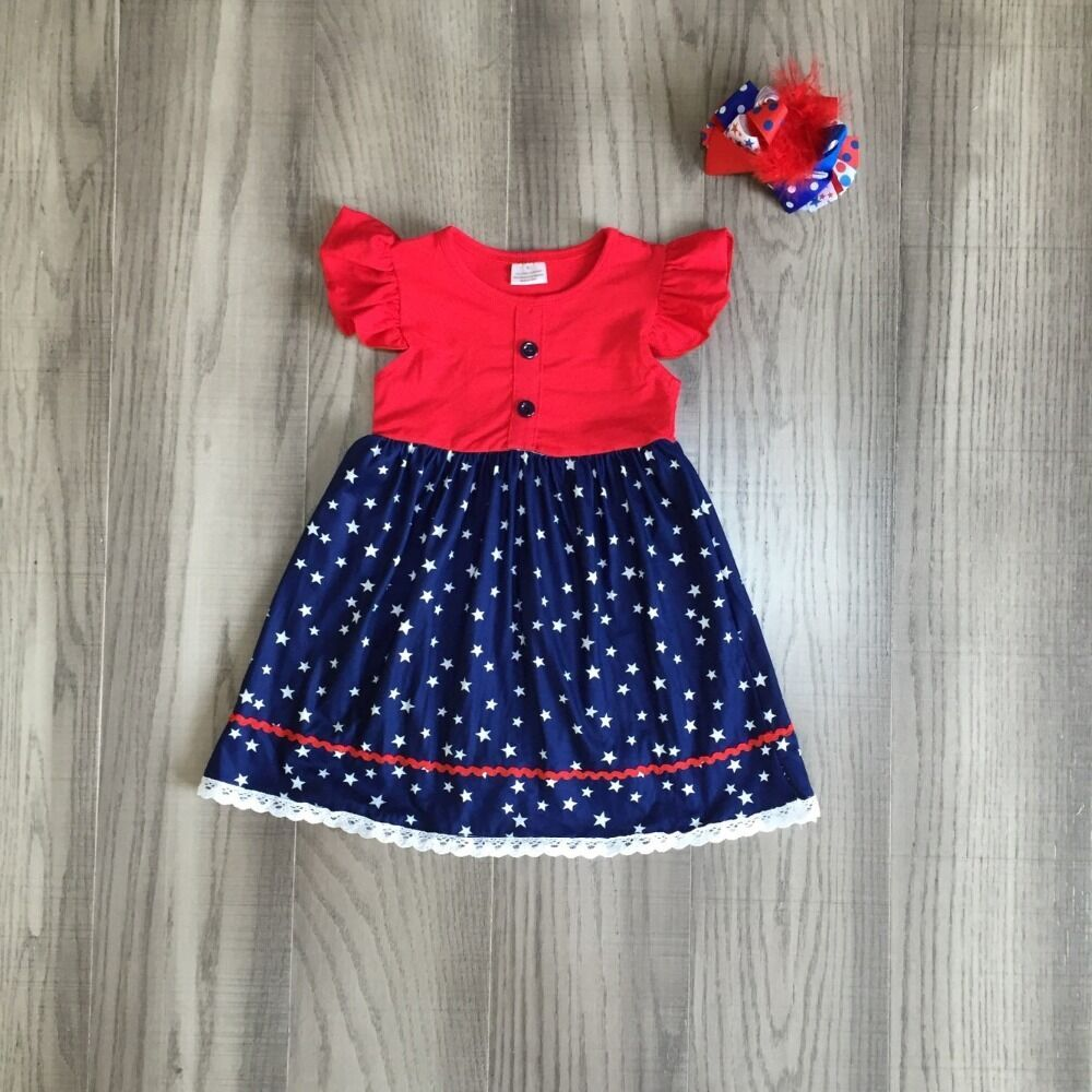 Baby Girls Summer Dress Girls 4th Of July Dress Children Girls Stars Prints July Fourth Dress With Bow