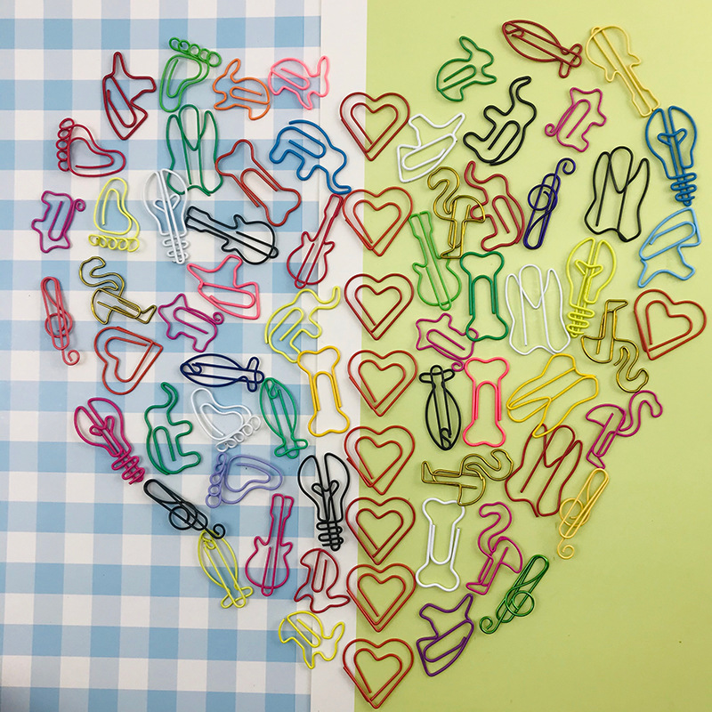 Cute Metal Clips 10pcs Heart Music Elephant Rabbit Paper Clips Flamingo Office Supplies Kawaii Stationery Office Accessories