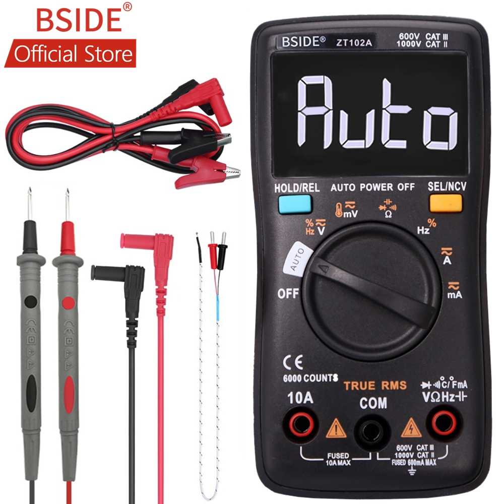 Bside ZT102A Ebtn Lcd Digitale Multimeter Trms Ac/Dc Spanning Stroom Temp Ohm Frequentie Diode Weerstand Capaciteit Tester