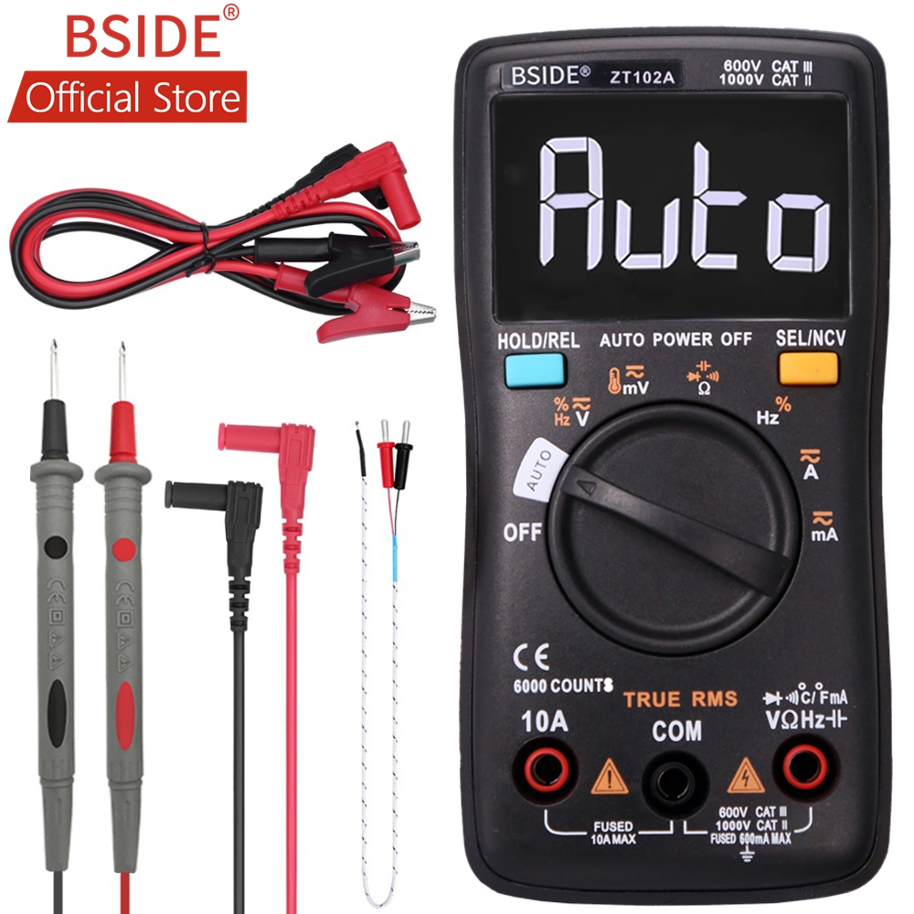 BSIDE ZT102A EBTN LCD Digital Multimeter TRMS AC/DC Voltage Current Temp Ohm Frequency Diode Resistance Capacitance Tester