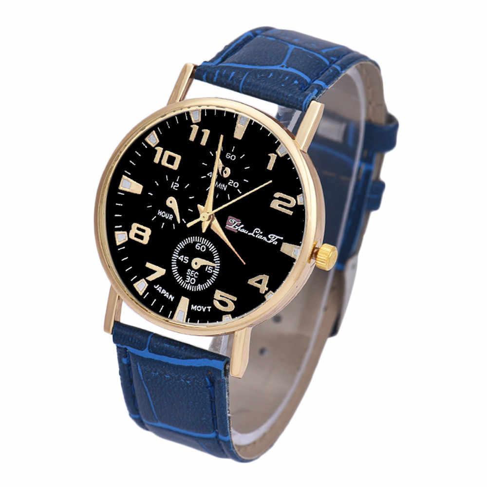 패션 가짜 가죽 망 아날로그 쿼트 시계 블루 레이 남자 손목 시계 2019 망 시계 톱 브랜드 럭셔리 캐주얼 시계 시계