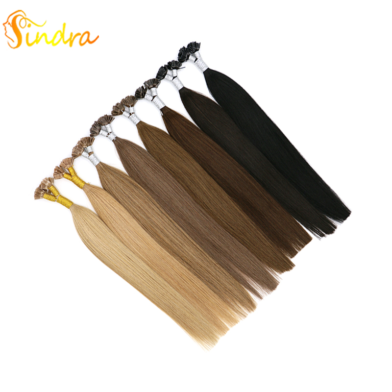 Sindra Double Drawn Flat Tip Hair Extensions Remy Human Hair Extensions 1g/pc 14