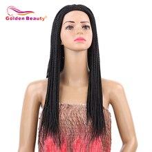Beleza dourada 22 polegada caixa trança peruca longa peruca de cabelo sintético preto trançado perucas com tampão respirável