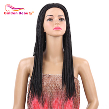 Golden Beauty 22inch Box Braid Wig Long Black Synthetic Hair Wig Braided Wigs With Breathable Cap