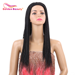 Image 1 - Golden Beauty 22inch Box Braid Wig Long Black Synthetic Hair Wig Braided Wigs With Breathable Cap