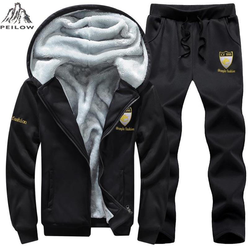 PEILOW Size 7XL8XL 9XL Winter Tracksuit Men Sweatshirt Sporting Set Fleece Thick Hooded Casual Running SportSuit Men Jacket+Pant