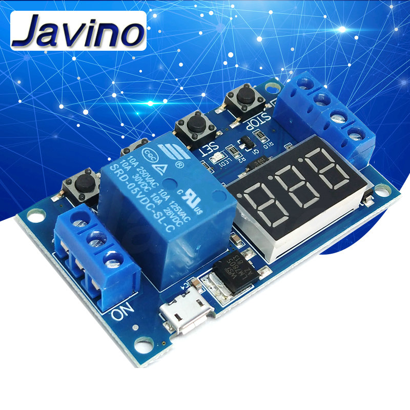 DC 5V <font><b>12V</b></font> 24V <font><b>LED</b></font> Light Digital Time Delay Relay Trigger Cycle Timer Delay Switch <font><b>Circuit</b></font> <font><b>Board</b></font> Timing Control Module DIY image