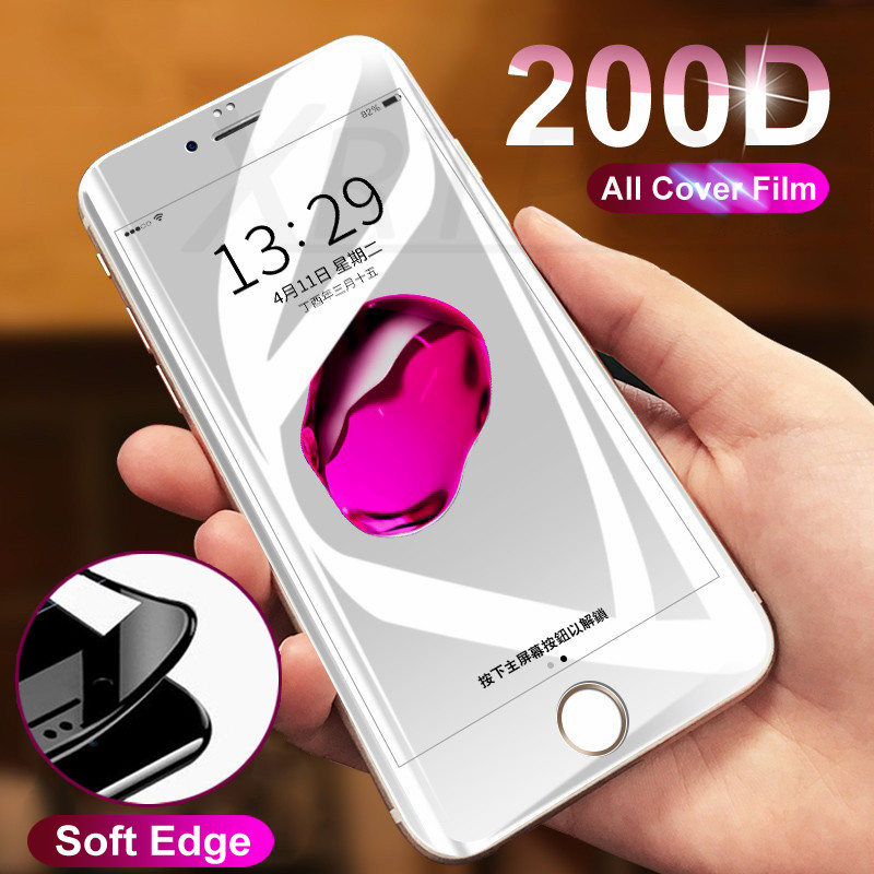 200D Curved Soft Edge Protective Glass on For iPhone 7 8 6 6s Plus Tempered Glass Screen Protector For iPhone X XR XS Max Film