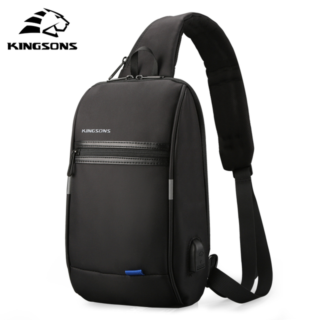 Kingsons Male Chest Bag Crossbody Bag Small Single Shoulder Strap Back pack Casual Travel Bags