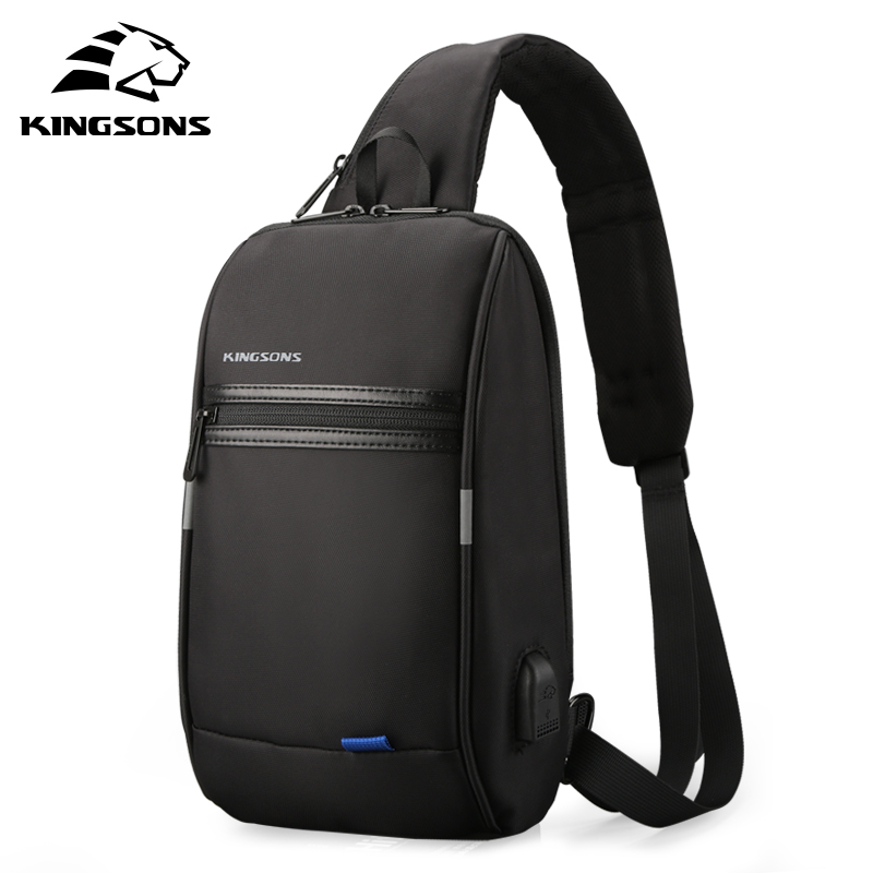 Kingsons Male Chest Bag Men's Crossbody Bag Small For Men Single Shoulder Strap Back Pack Casual Travel Bags