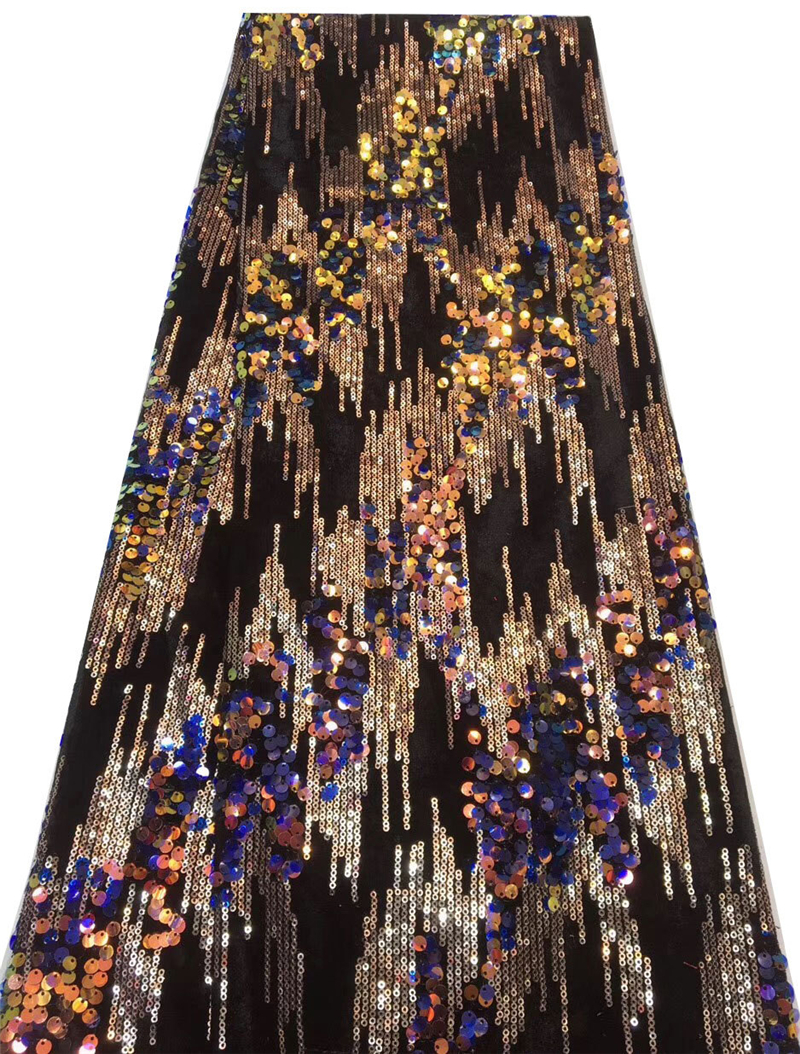 DIY Craft Making Latest Nigerian Lace Fabric Multi-colorful Sequins Tulle Lace Fabric Fashion Net Lace For Women Dresses  130CM