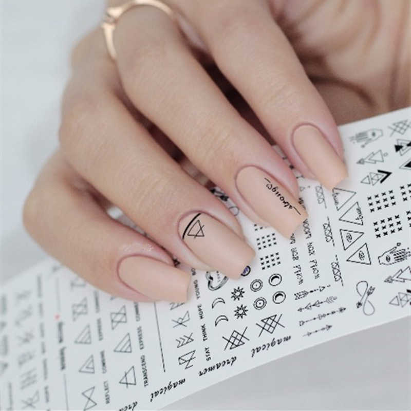 Geometrische Nail Water Decals Lijn Dreamcacher Hart Maan Nail Disign Water Stickers Voor Nagels Diy Nagels Art Nagellak Stickers