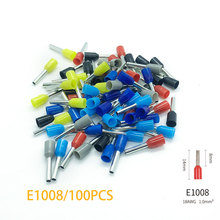 100pcs/PackE1008Insulated Ferrules Terminal Block Cord End Wire Connector Electrical Crimp Terminator