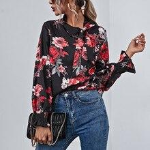 Shirt Chiffon Casual Blouses Tops Blusas Long-Sleeved-Models Office Printed Loose Slim