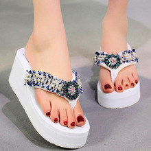2019 New Rhinestone Wedges Slippers Female Summer Flip Flops High Heel Thick Non-slip Beach Shoes Pearl Sandals Shoes Woman suihyung women shoes 2018 new summer female flats beach slippers flip flops flowers thick bottom woman casual wedges slippers