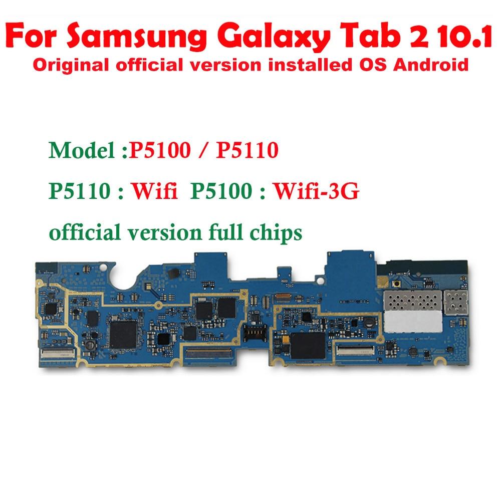 Livraison gratuite Original pour Samsung Galaxy Tab 2 10.1 P5100 3G P5110 WIFI carte mère Version ue carte logique avec puces plaque LBS